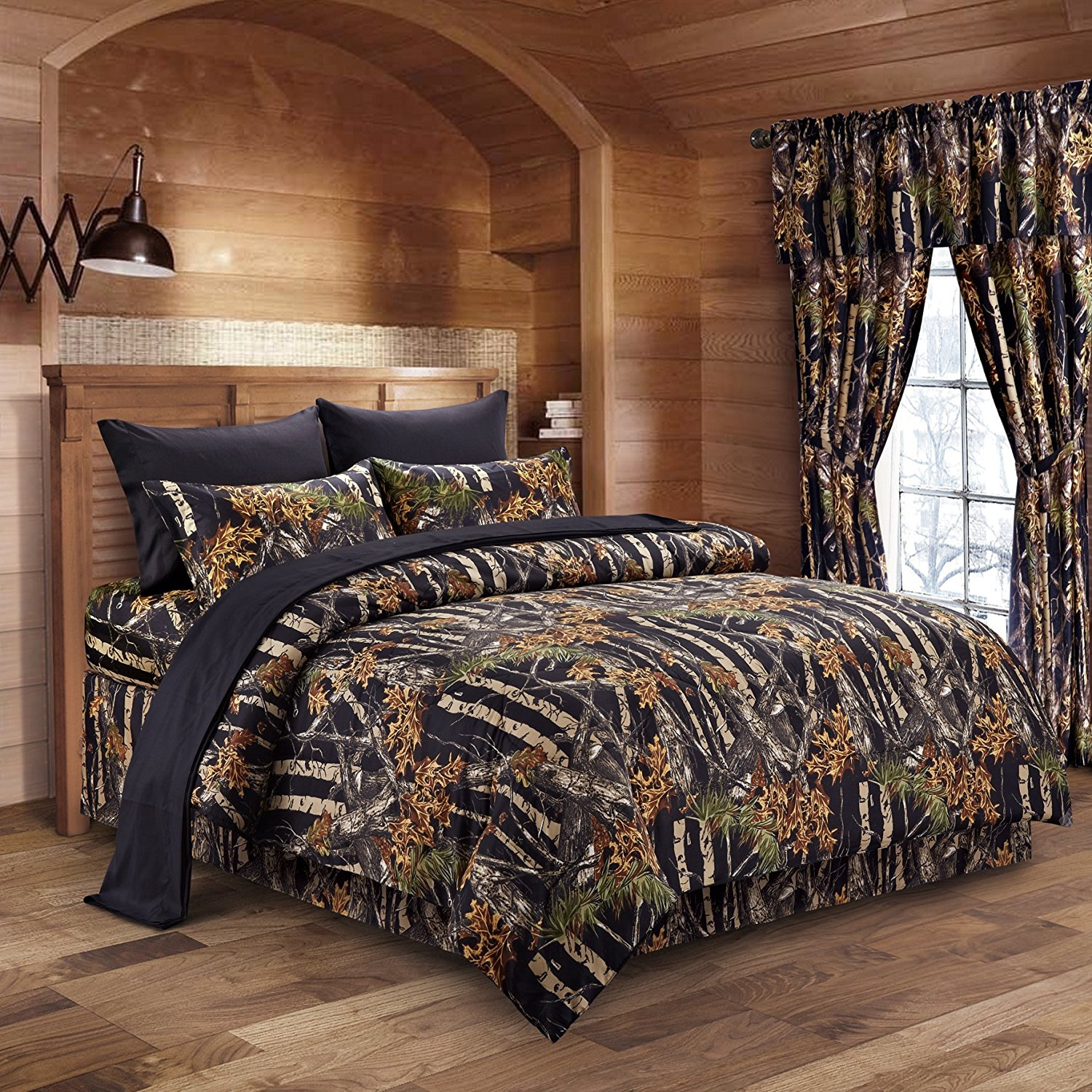 The Woods Black Camouflage Queen 8pc Premium Luxury Comforter, Sheet, Pillowcases, and Bed Skirt Set by Regal Comfort Camo Bedding Set For Hunters Cabin or Rustic Lodge Teens Boys and Girls