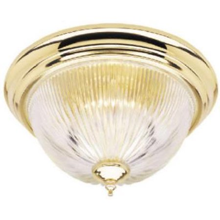 Single Light Flush Mount Ceiling Fixture Polished Brass Finish Only One
