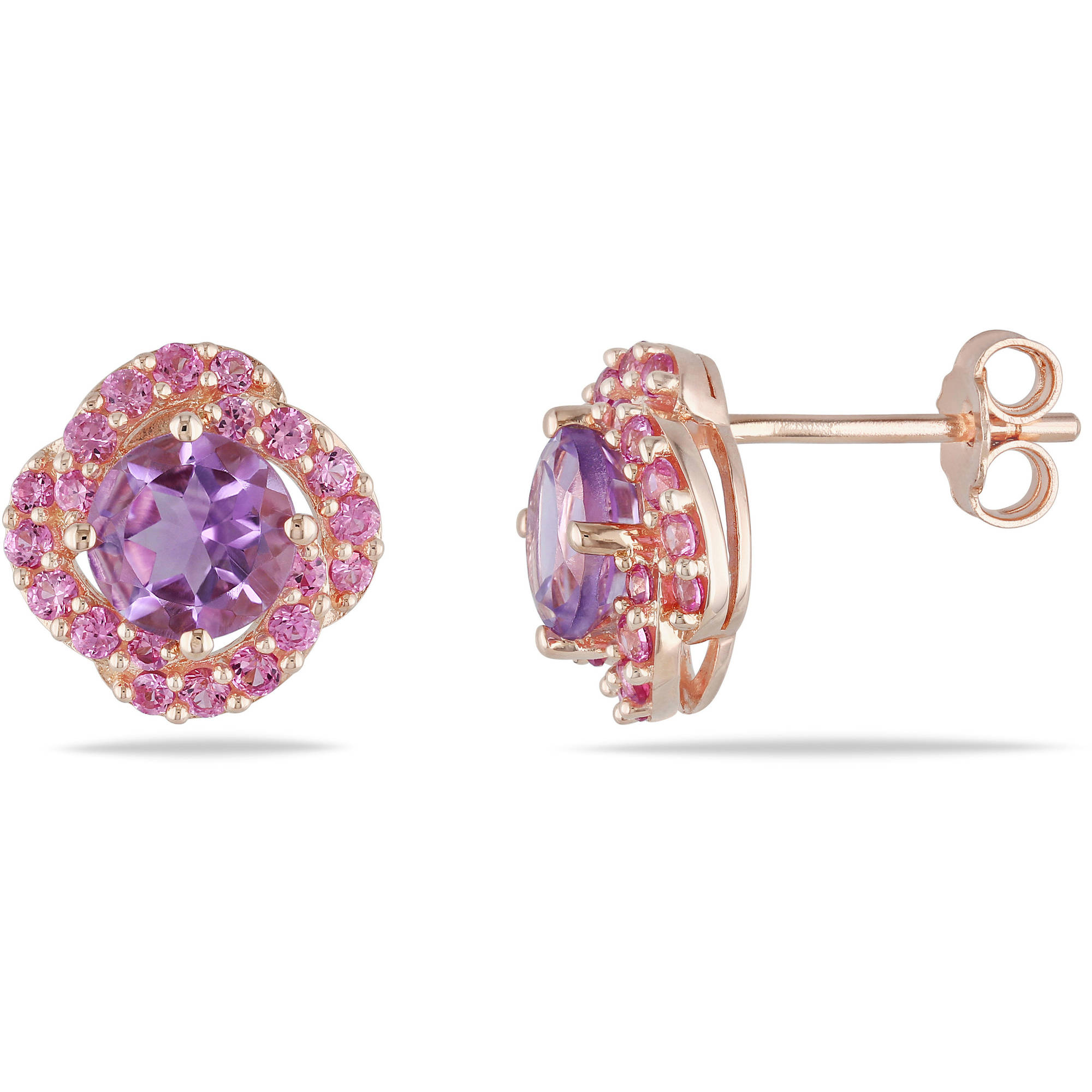 1-7 8 Carat T.G.W. Amethyst and Created Pink Sapphire Pink Rhodium-Plated Sterling Silver Swirl Earrings by Delmar Manufacturing LLC