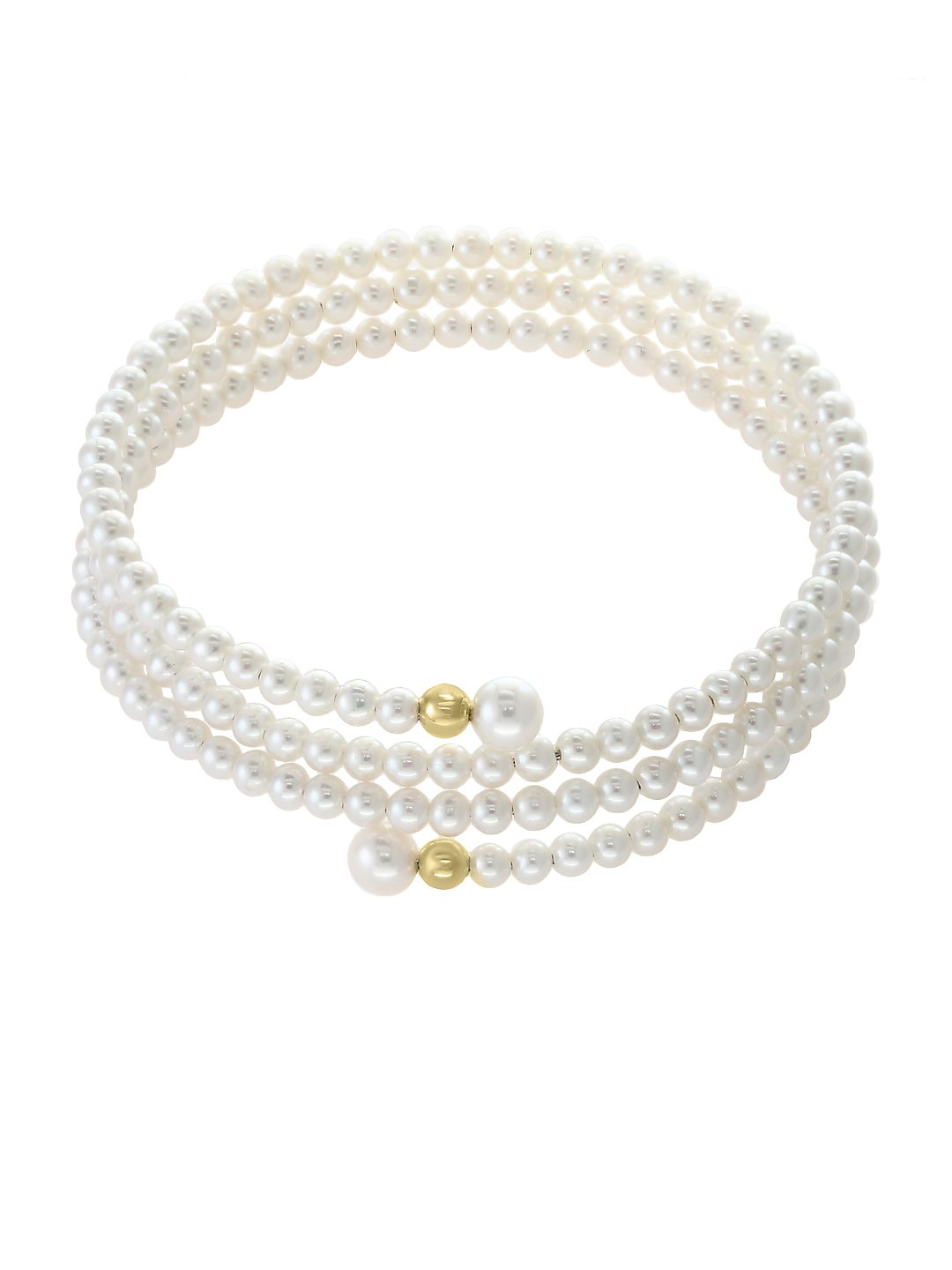 3-6MM White Pearl and 14K Yellow Gold Wrap Bracelet