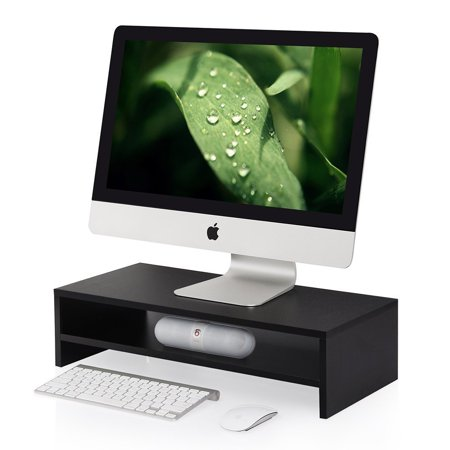 Keyboard Storage - Computer Monitor Riser 2 Tier Shelves Monitor Stand with keyboard Storage Space,Black