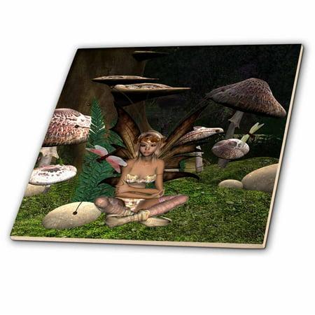 Faith Tile (3dRose Fairy Mushrooms And Dragonflies - Ceramic Tile, 4-inch)