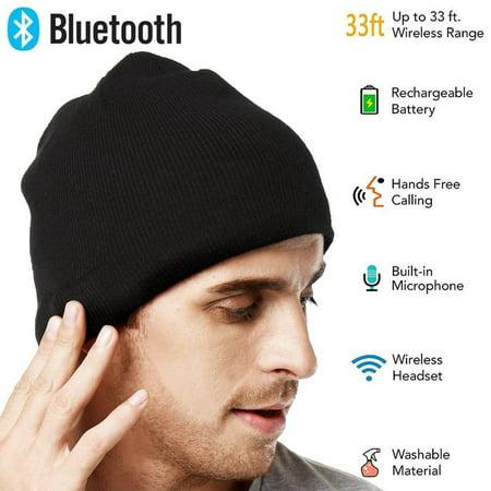 (Men Smart Wireless Bluetooth Music Warm Knitted Beanie Hat Headphones Cap)