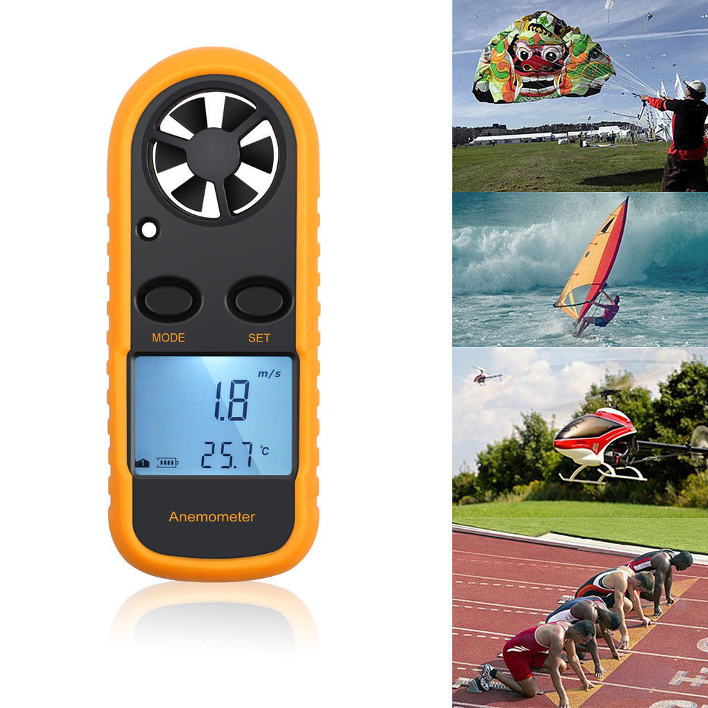 Handheld Velocity Sailing Wind Speed Meter LCD Digital Thermometer Anemometer