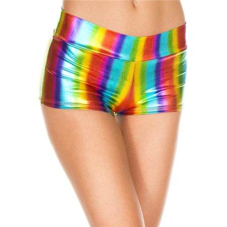 Music Legs 149-RAINBOW Rainbow Metallic Booty Shorts - Rainbow - Metallic Booty Shorts