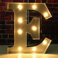 "1Pcs 9"" Metal Marquee Alphabet Letter Nightlight Lamp Romantic Wedding Birthday Party Home Decorations , E Alphabet"