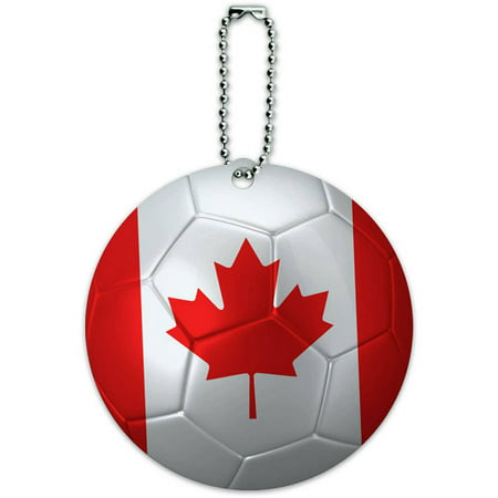Canada Flag Soccer Ball Futbol Football Round Luggage ID Tag Card for Suitcase or (Id Soccer Boot)