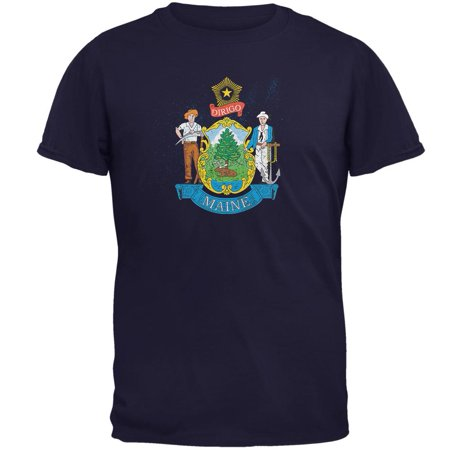 Born and Raised Maine State Flag Mens T Shirt