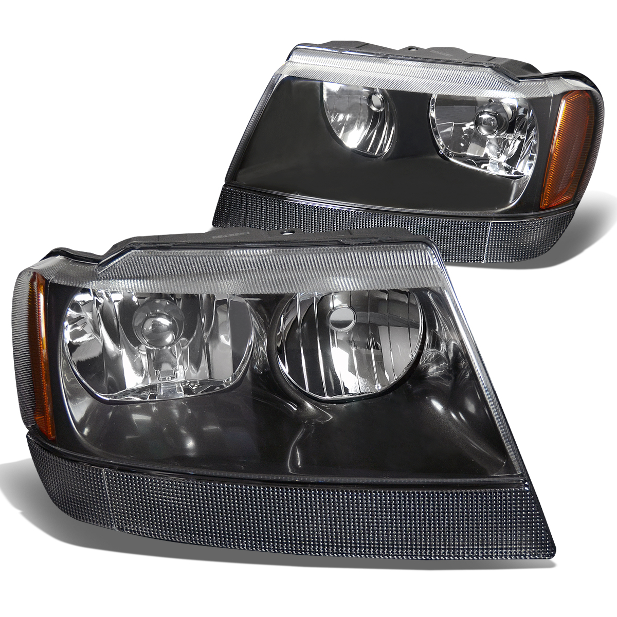 For 99-04 Jeep Grand Cherokee Headlight Lamps With Amber Reflector Kit (Black Housing) - WJ 00 01 02 03