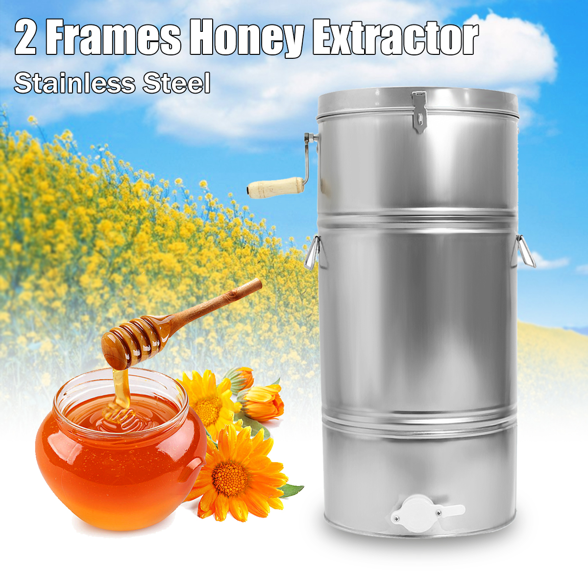 2 Frame Stainless Steel Bee Honey Extractor High Sensitivity Bee Honey Extractor Two SS Honeycomb Drum Beekeeping