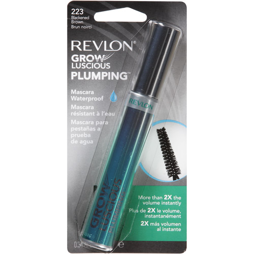 Revlon Grow Luscious Plumping Waterproof Mascara, 223 Blackened Brown, 0.34 fl oz