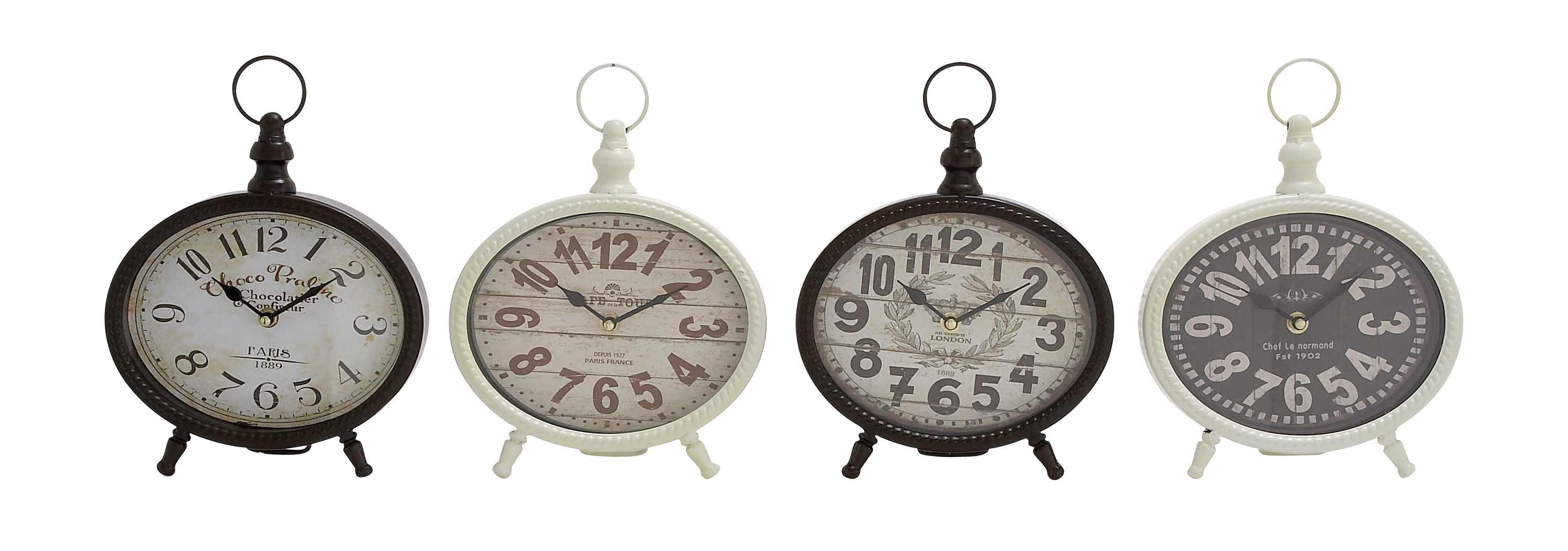 Creative Round Shaped Metal Desk Clock 4 Assorted by Benzara