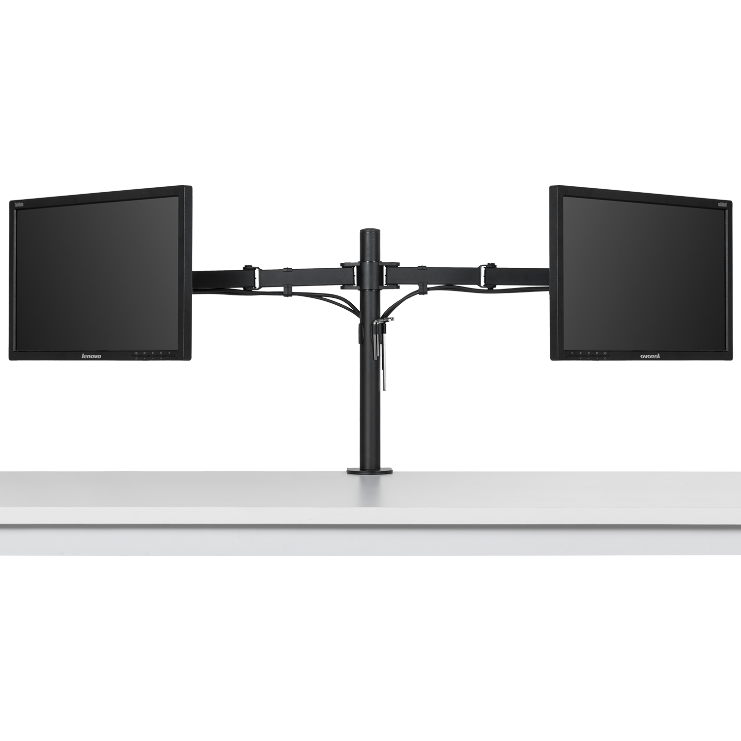Ollieroo Dual Monitor Desk Stand Mount Swivel and Tilting Design Height Adjustable Fits up to Two 13-27 inch Screens VESA 75 and 100mm