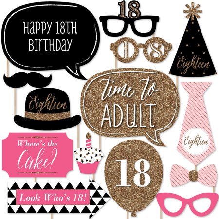 Chic 18th Birthday - Pink, Black and Gold - Birthday Party Photo Booth Props Kit - 20 Count (Ideas For 18th Birthday Party)