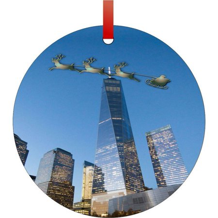 Santa and Sleigh Riding Over the Empire State Building Flat Round - Shaped Christmas Holiday Hanging Tree Ornament Disc Made in the U.S.A. - Halloween Light Show Empire State Building