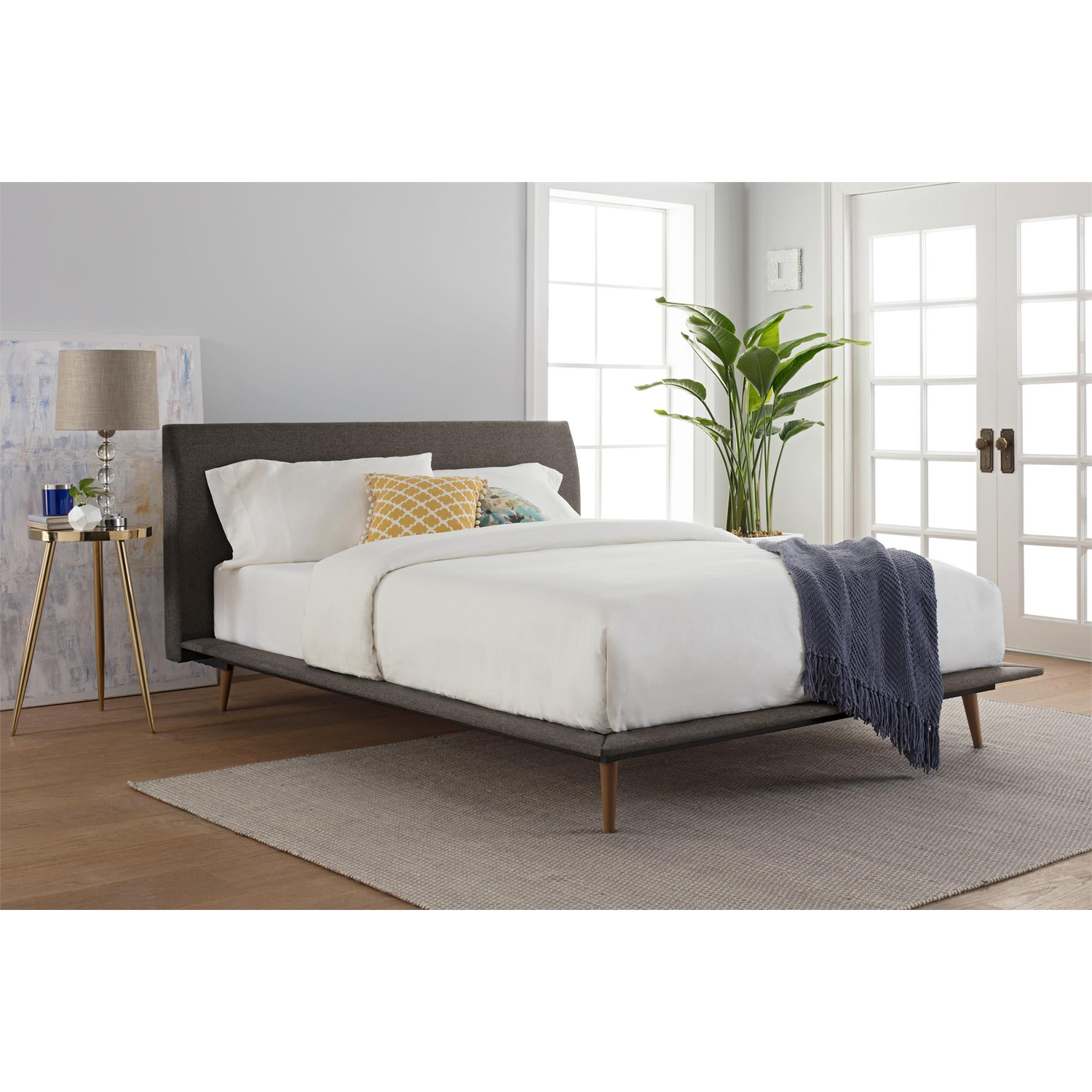 Better Homes and Gardens Flynn Mid Century Modern Queen Platform Bed, Multiple Colors