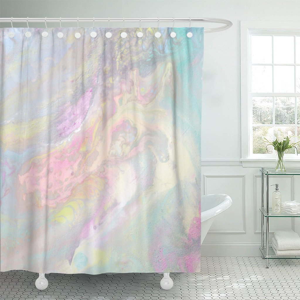 PKNMT Iridescent Color Transitions Pale Blue Green Yellow Pink Shower Curtain 60x72 inches