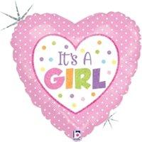 Mayflower 75404 9 in. Baby Girl Dots Flat Foil Balloon