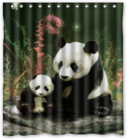 Hellodecor Gentle Panda Mom Panda Son Shower Curtain Polyester Fabric Bathroom Decorative Curtain Size 66x72 Inches