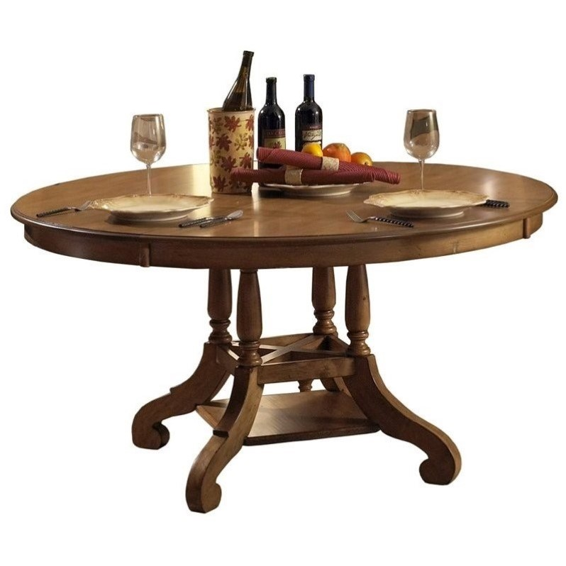 Hillsdale Hamptons Round Dining Table in Weathered Pine by Hillsdale