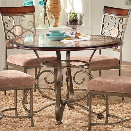 (Steve Silver Company Thompson Round Dining Table in Metal and Cherry)