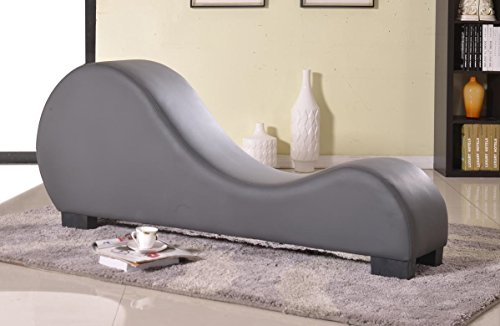 High Quality US Pride Furniture Faux Leather Stretch Chaise Relaxation And Yoga Chair,  Grey