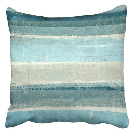 BOSDECO Gray Modern Blue and Grey Abstract Painting Teal Contemporary Gallery Interior Layers Pillow Case Pillow Cover 20x20 inch - image 1 de 1