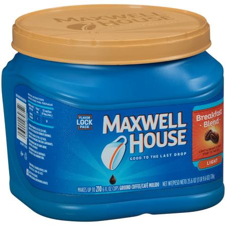 Maxwell House Breakfast Blend Ground Coffee 25 6 Oz  Tub