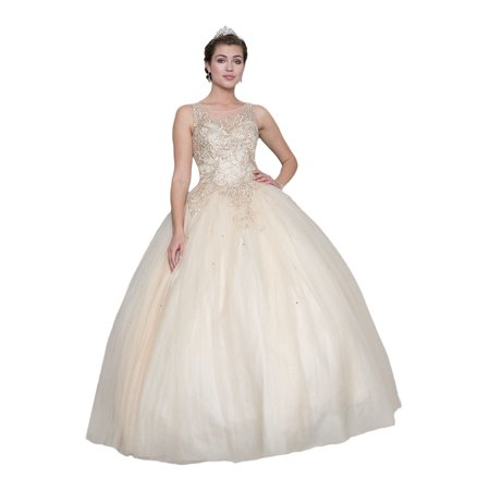 Calla Collection Womens Champagne Gold Embroidered Quinceanera Ball (Quinceanera Dresses)