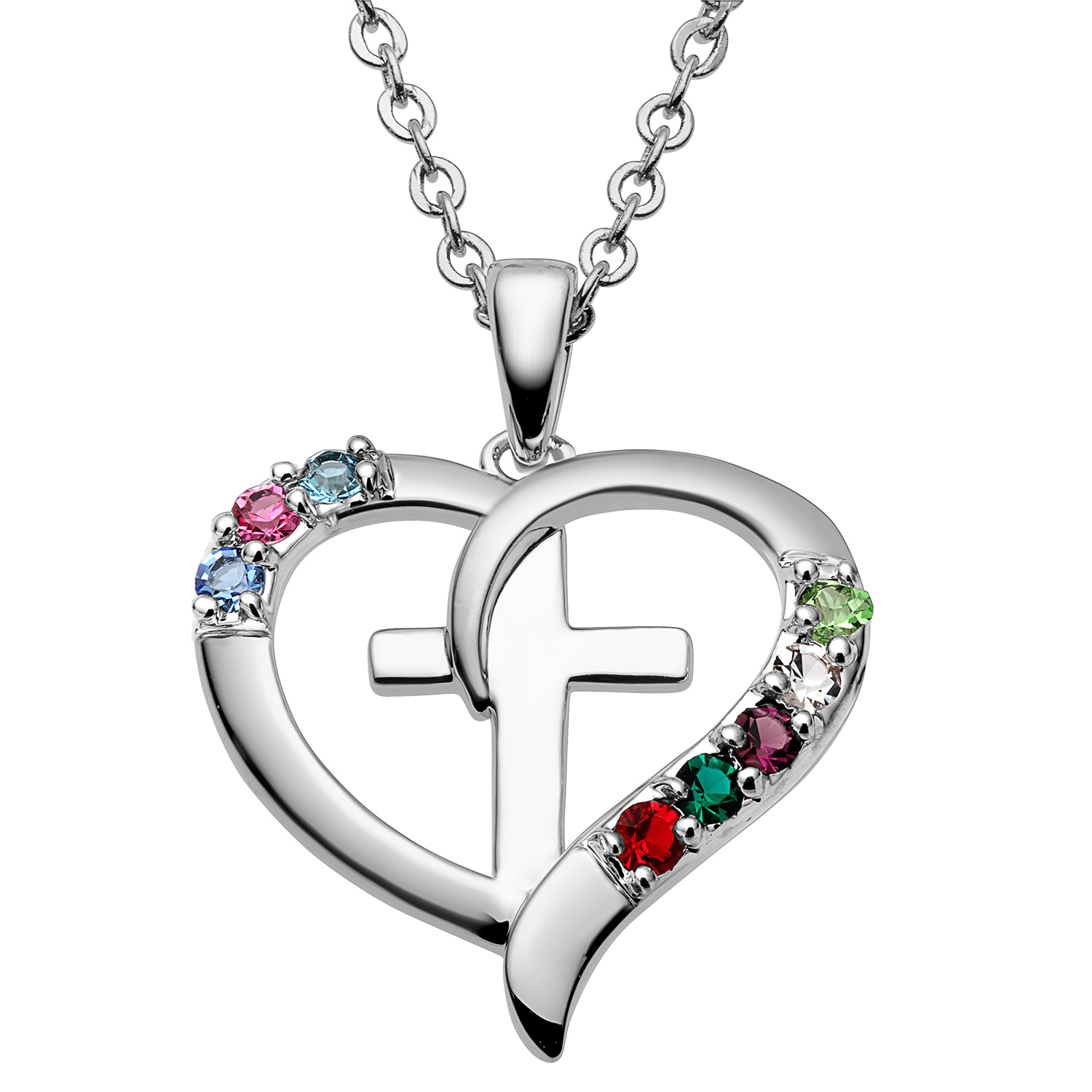 Personalized Sterling Silver or Gold over Sterling Family Heart and Cross Birthstone Pendant