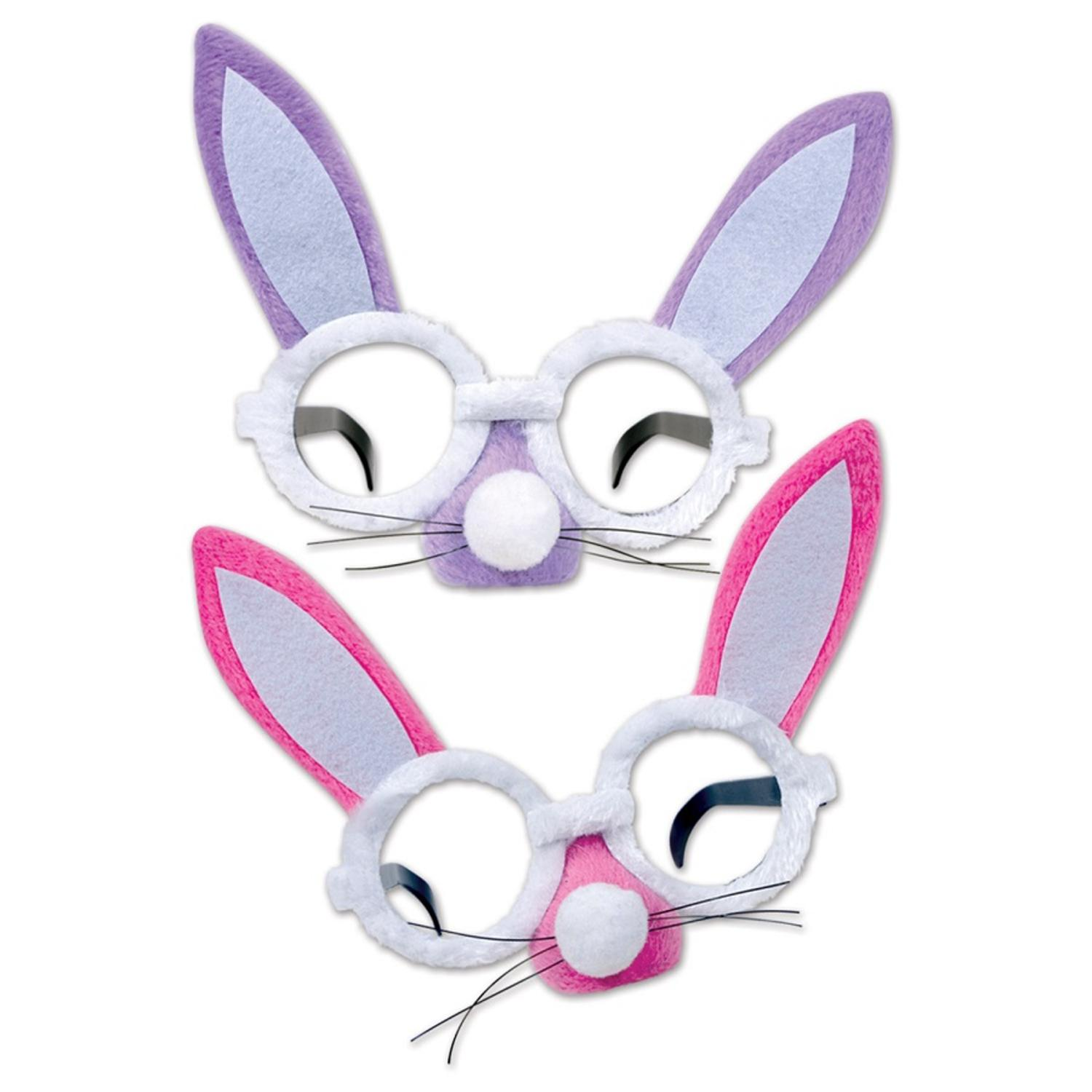 Pack of 12 Lavender and Pink Plush Bunny Glasses Easter P...