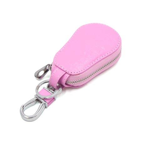 Pink Faux Leather Calabash Shape Key Coin Storage Holder Zipper Bag for Car