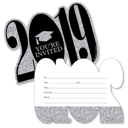 Silver - Tassel Worth The Hassle - 2019 Shaped Fill-In Invitations - Graduation Party Invitation Cards/Envelopes - 12 Ct - Invitation Wording Ideas For Halloween Party