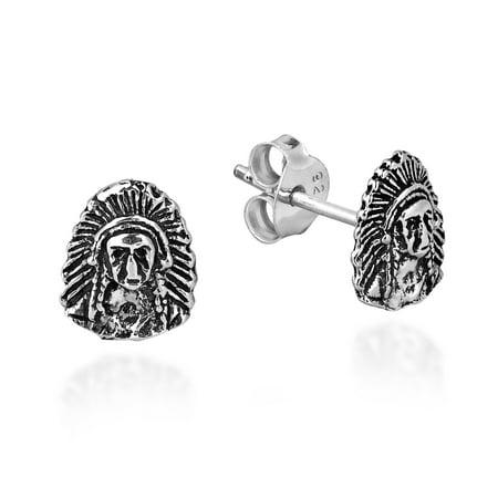 Indian Style .925 Sterling Silver Post Stud Earrings ()