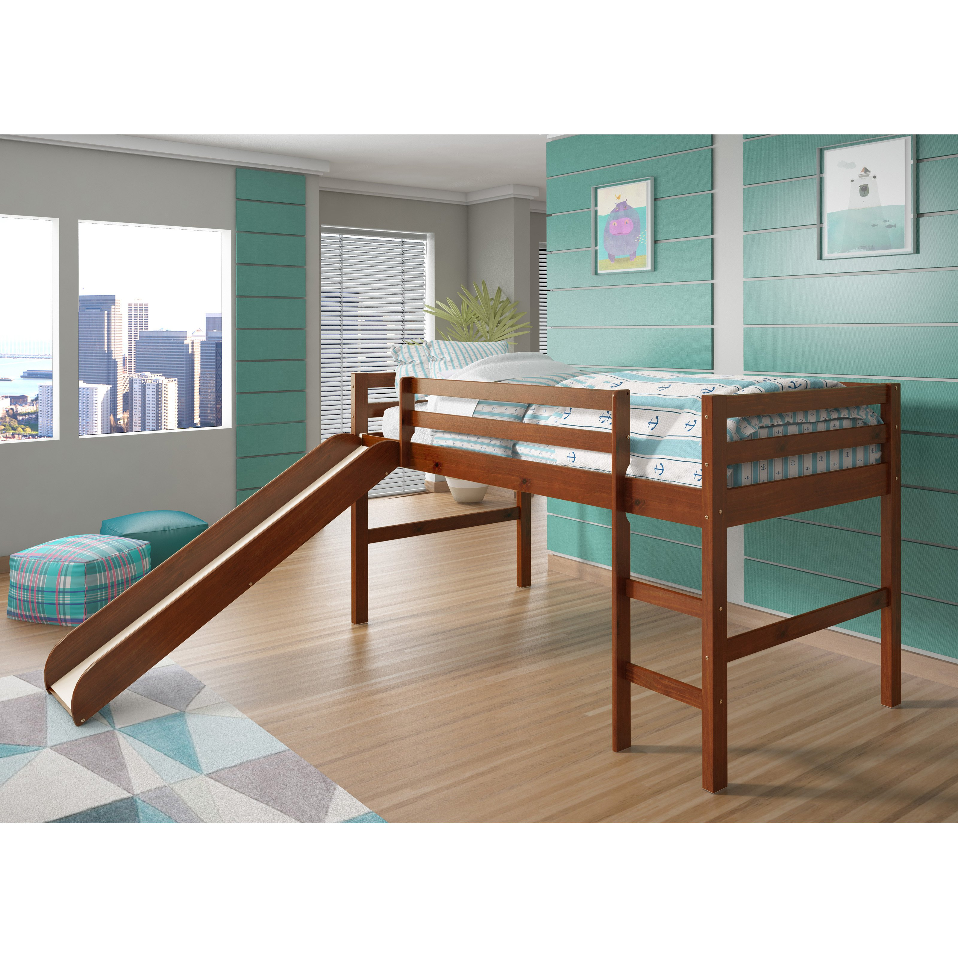 Donco Twin Low Loft Bed With Slide And Optional Tent Bed Zebra
