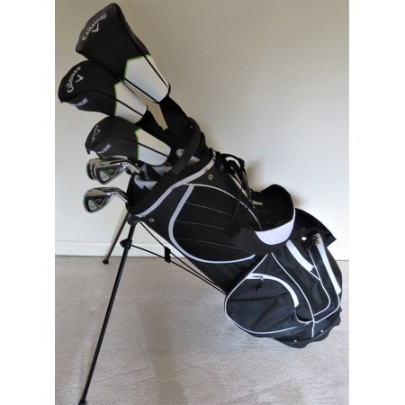 Mens Callaway Complete Golf Set - Driver, Wood, Hybrid, Irons, Putter, Deluxe Stand Bag Stiff Flex ()