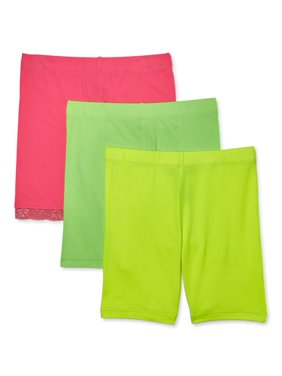 Dreamstar Girls Solid Bike Shorts, 3-Pack, Sizes 2-16