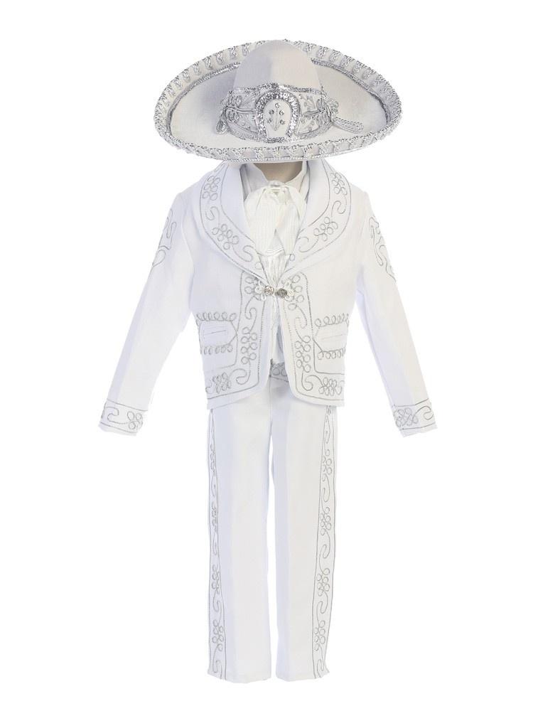 "Angels Garment Little Boys White ""Papa Con Virgen"" Charro Baptism Outfit"