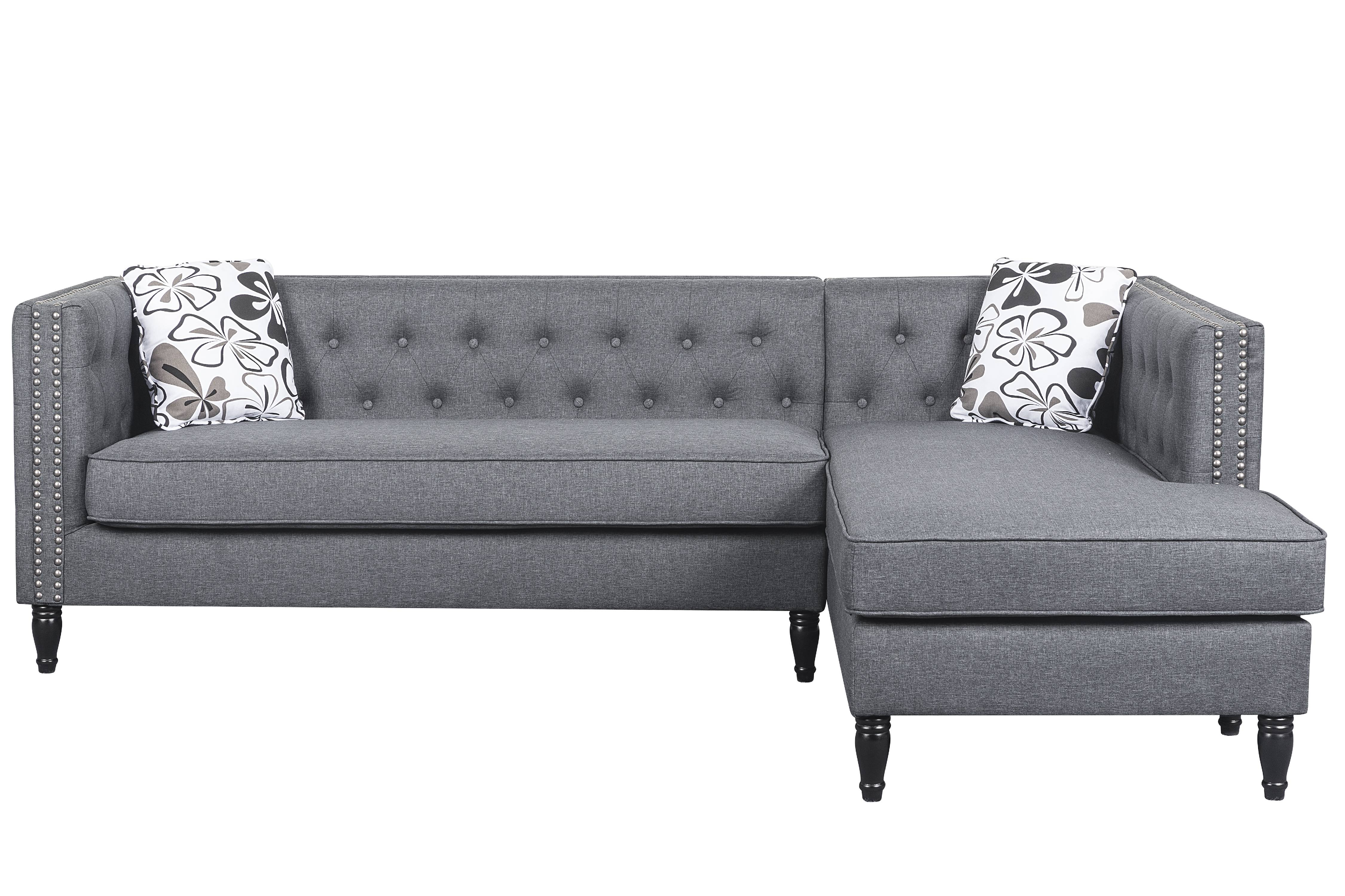 US Pride Furniture Button Tufted Modular L Shaped Sectional Sofa With Nailhead  Trim