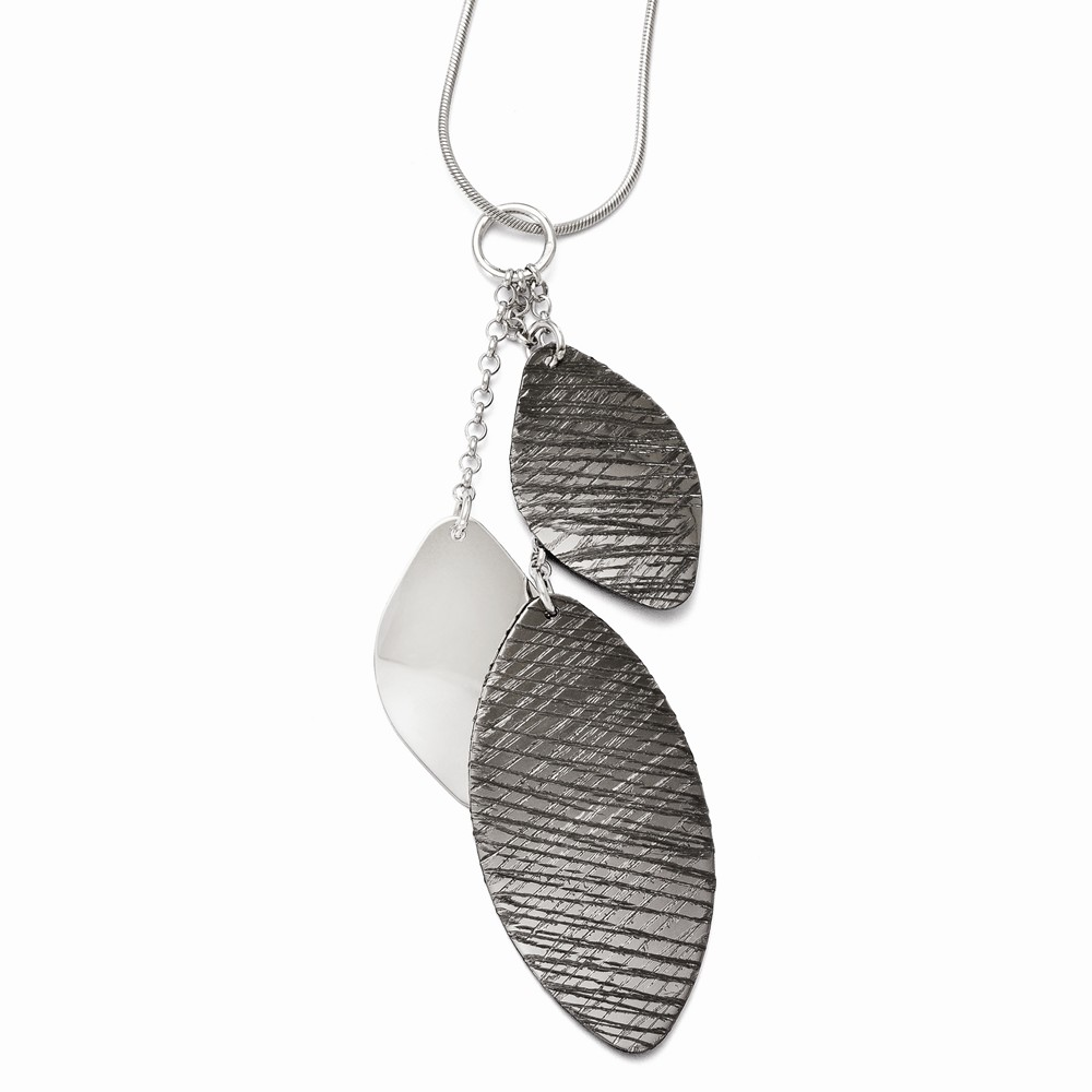 Sterling Silver Polished & Textured Ruthenium-Plated Pendant
