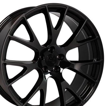 Dodge Magnum Styling (OE Wheels 20 Inch Hellcat Style | Fits Dodge Challenger, Charger, SRT8, Magnum, Chrysler 300, SRT8 | DG15 Black Chrome 22x9 Rim Hollander 2528)