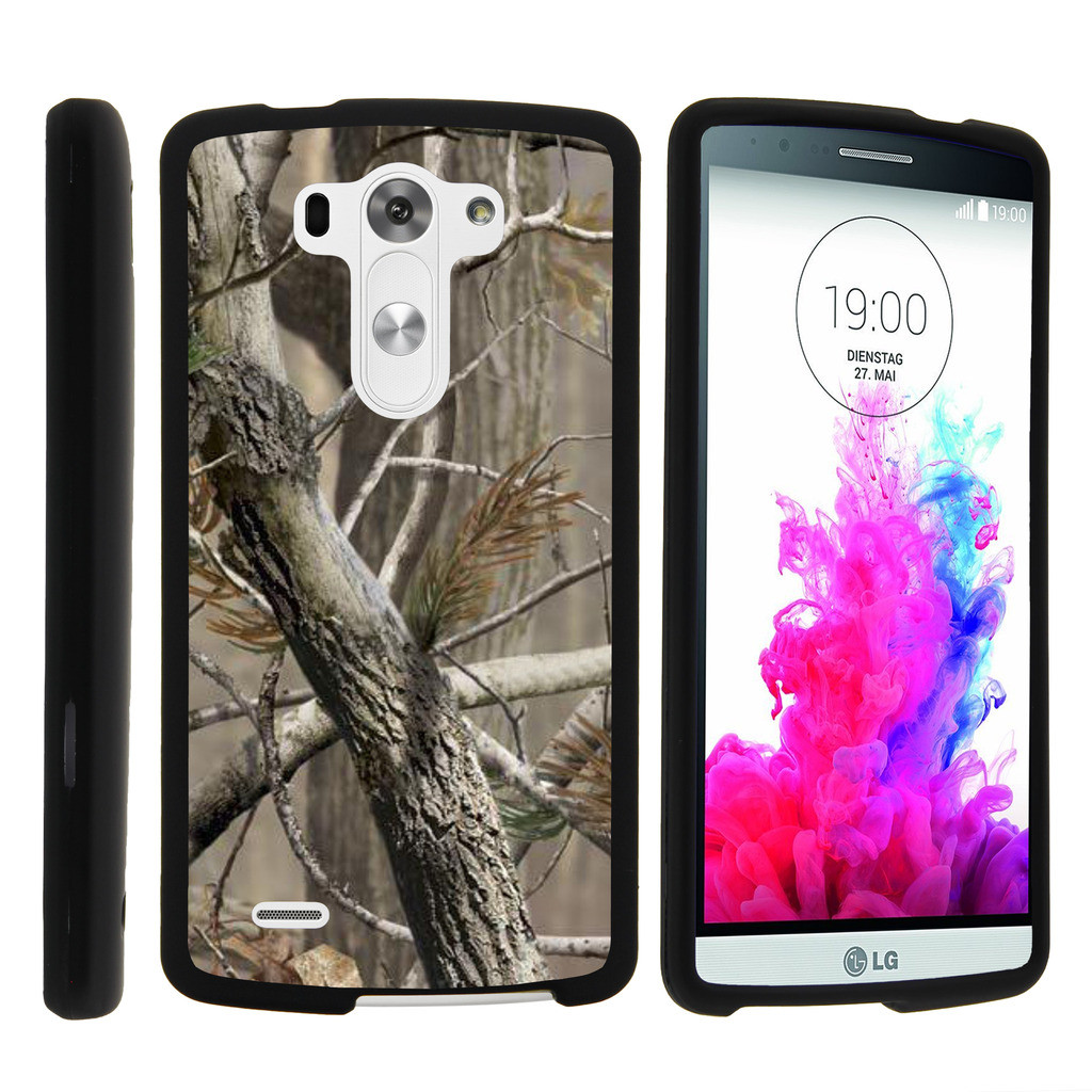 LG G3 D850, LS990, VS985, [SNAP SHELL][Matte Black] 2 Piece Snap On Rubberized Hard Plastic Cell Phone Cover with Cool Designs - Hunter Camouflage