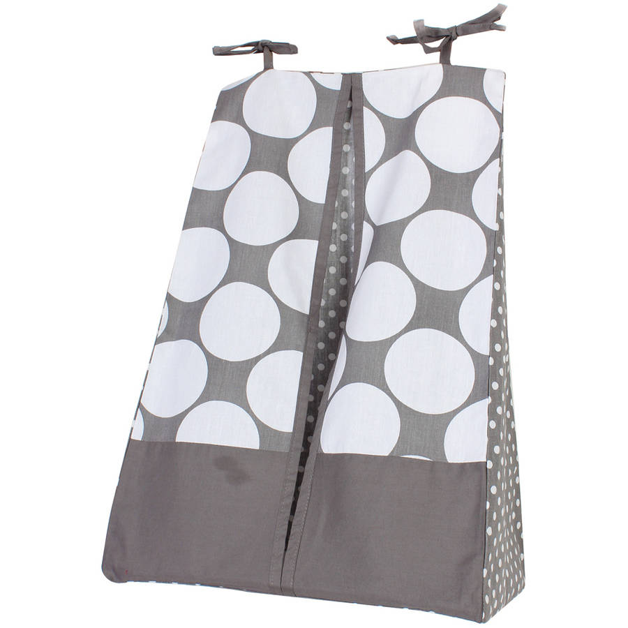 Bacati - MixNMatch Diaper Stacker 100 Cotton Percale Fabrics with cardboard insert, Grey
