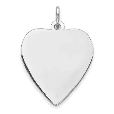 Engraveable Boy Charm - 925 Sterling Silver Engraveable Heart Polished Front/Satin Back Disc (18x21mm) Pendant / Charm
