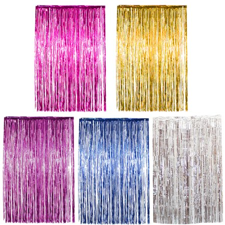 Rain curtain pull flower 1*2 meters party background foil curtain rose gold pink rain, Gold (Gold Foil Curtain)
