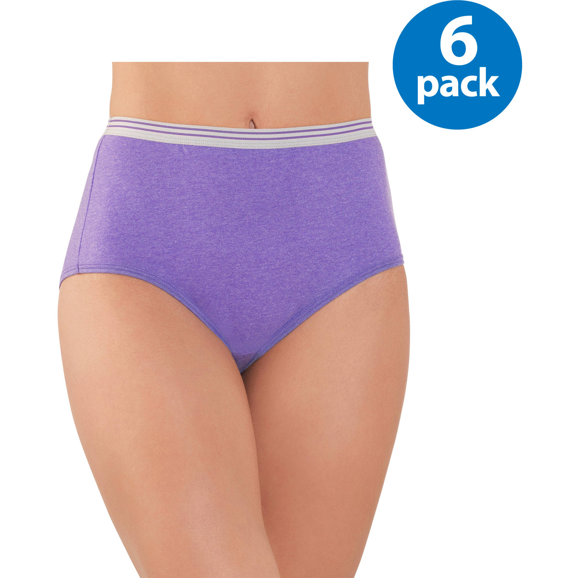 Fruit of the Loom Ladies' 6pk Heather Briefs