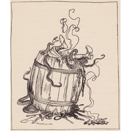 The Wicked Mother-In-Law Was Put Into A Barrel Full Of Boiling Oil And Venomous Snakes Illustration By Arthur Rackham From Grimms Fairy Tale The Twelve Brothers Published Late 19Th Century Rolled Canv