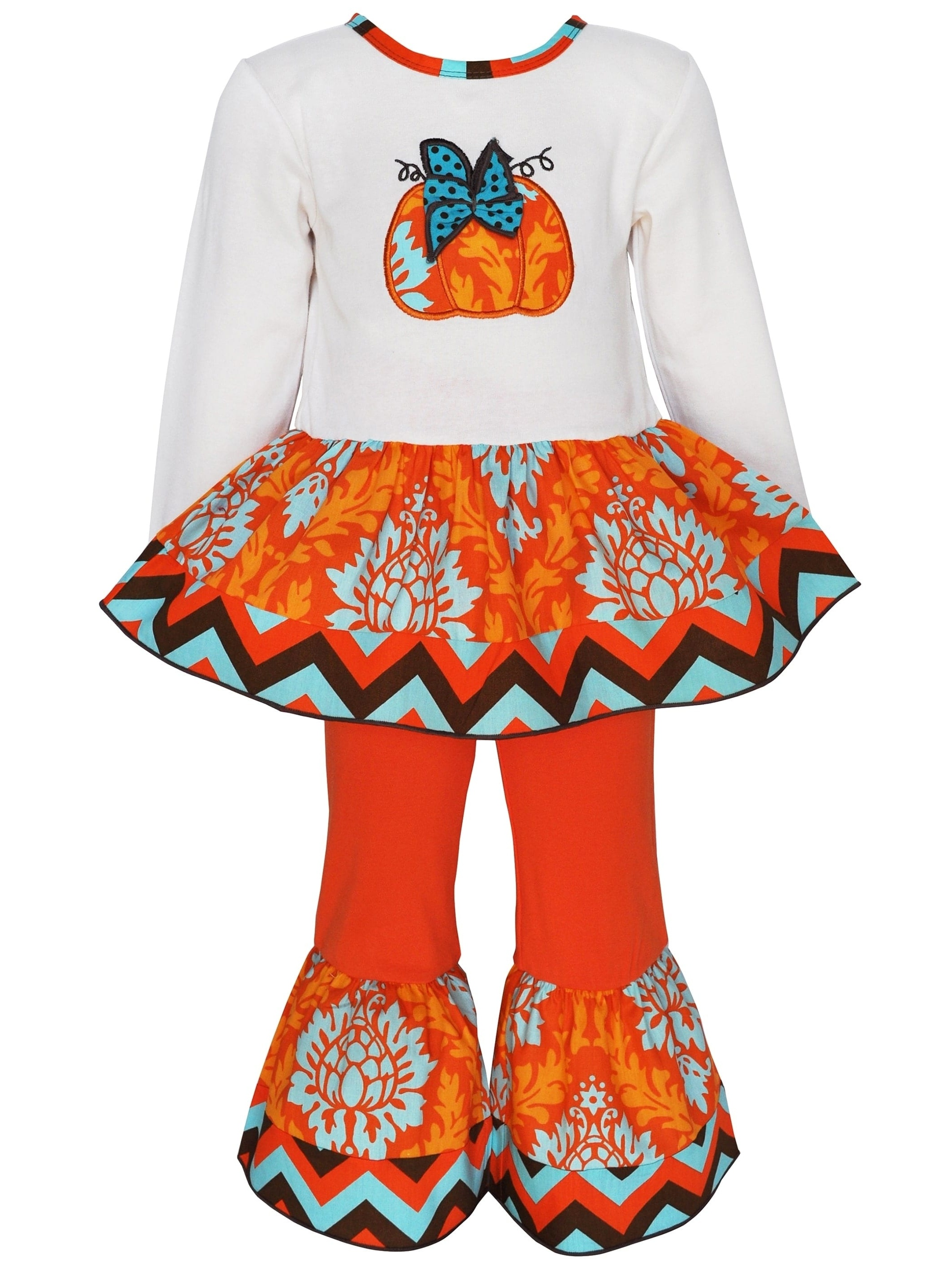 Ann Loren  Girls Boutique Pumpkin Patch Damask Thanksgiving Outfit Set