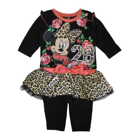Disney Baby Girls Black Coral Leopard Minnie Mouse Pant Outfit - Black Baby Girl