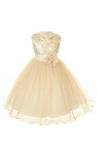 Absolutely Beautiful Sequined Bodice with Double Tulle Skirt Party flower Girl Dress-KD305-White-S